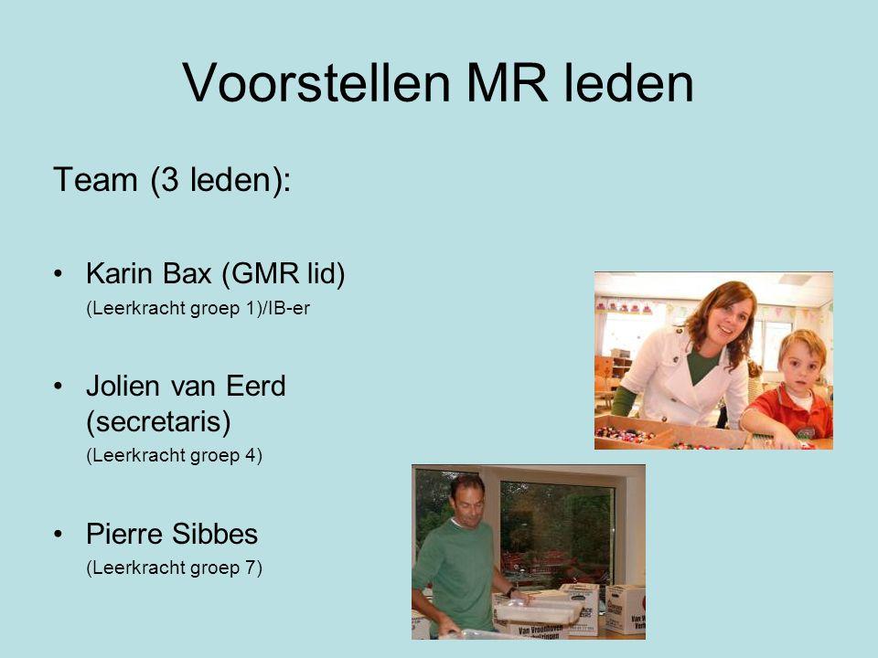 Voorstellen MR leden Team (3 leden): Karin Bax (GMR lid) (Leerkracht groep 1)/IB-er Jolien van Eerd (secretaris) (Leerkracht groep 4) Pierre Sibbes (L