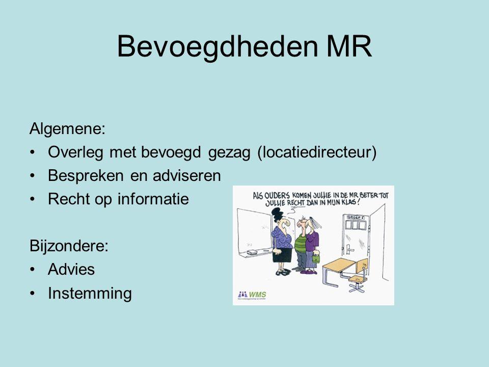 Bevoegdheden MR Algemene: Overleg met bevoegd gezag (locatiedirecteur) Bespreken en adviseren Recht op informatie Bijzondere: Advies Instemming