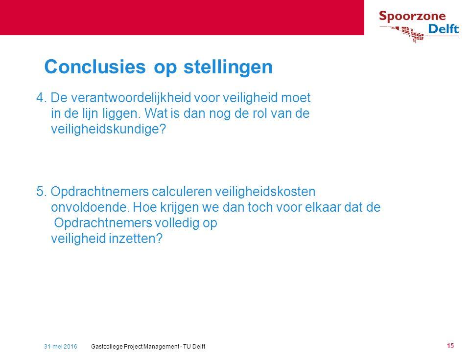 31 mei 2016Gastcollege Project Management - TU Delft 15 Conclusies op stellingen 4.