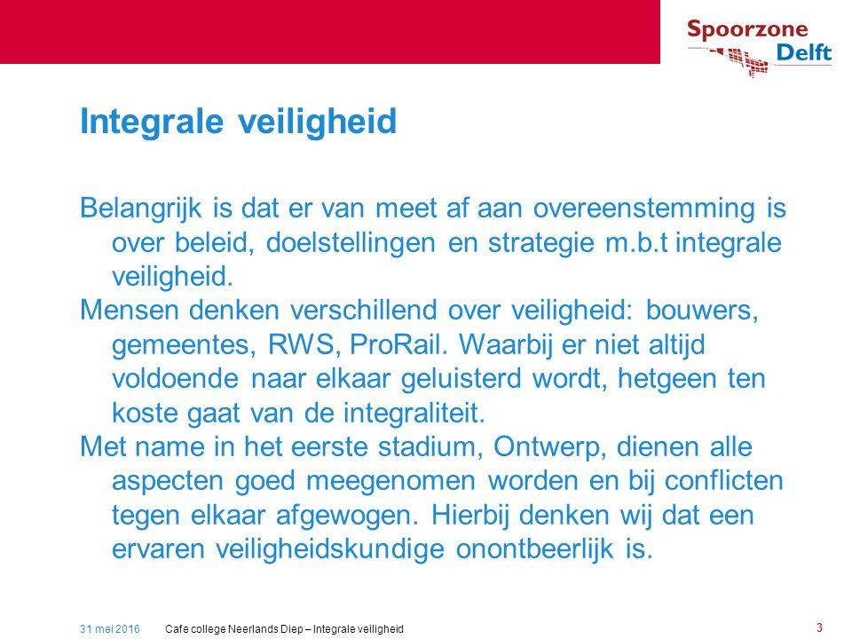31 mei 2016 3 Belangrijk is dat er van meet af aan overeenstemming is over beleid, doelstellingen en strategie m.b.t integrale veiligheid.