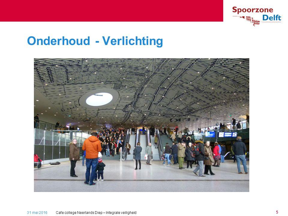 31 mei 2016 5 Onderhoud - Verlichting Packed station Cafe college Neerlands Diep – Integrale veiligheid
