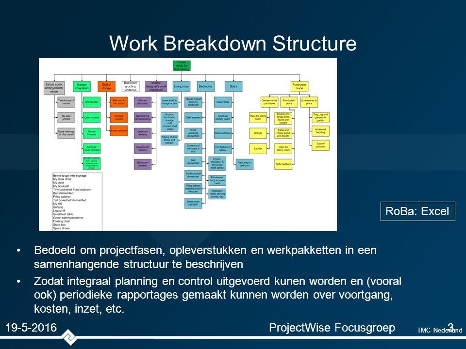 TMC Nederland Work Breakdown Structure Bedoeld om projectfasen, opleverstukken en werkpakketten in een samenhangende structuur te beschrijven Zodat integraal planning en control uitgevoerd kunen worden en (vooral ook) periodieke rapportages gemaakt kunnen worden over voortgang, kosten, inzet, etc.