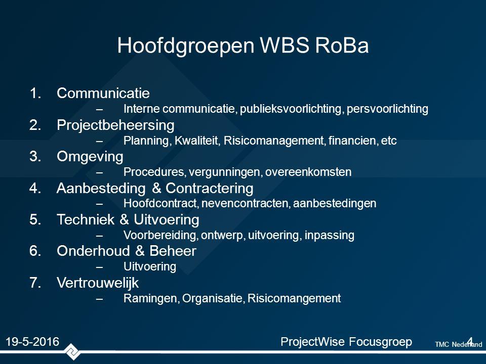 TMC Nederland Hoofdgroepen WBS RoBa 1.Communicatie –Interne communicatie, publieksvoorlichting, persvoorlichting 2.Projectbeheersing –Planning, Kwaliteit, Risicomanagement, financien, etc 3.Omgeving –Procedures, vergunningen, overeenkomsten 4.Aanbesteding & Contractering –Hoofdcontract, nevencontracten, aanbestedingen 5.Techniek & Uitvoering –Voorbereiding, ontwerp, uitvoering, inpassing 6.Onderhoud & Beheer –Uitvoering 7.Vertrouwelijk –Ramingen, Organisatie, Risicomangement ProjectWise Focusgroep4 19-5-2016