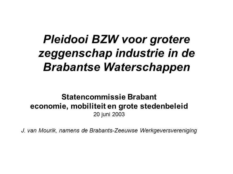 Pleidooi BZW voor grotere zeggenschap industrie in de Brabantse Waterschappen Statencommissie Brabant economie, mobiliteit en grote stedenbeleid 20 juni 2003 J.