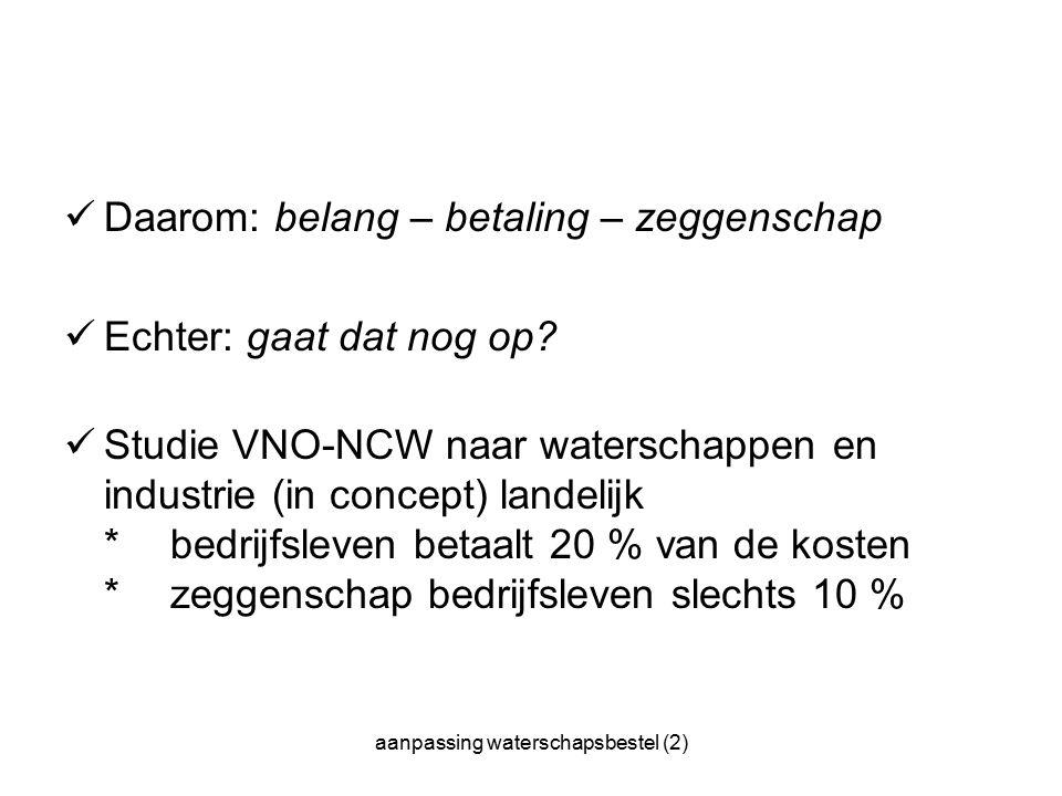 aanpassing waterschapsbestel (2) Daarom: belang – betaling – zeggenschap Echter: gaat dat nog op.