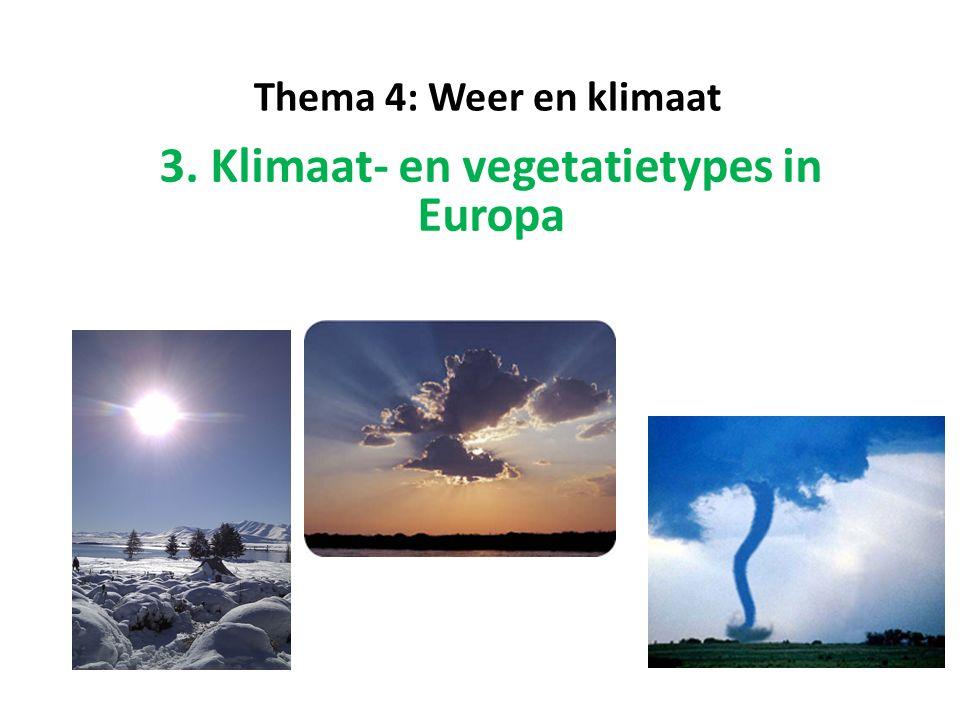 3.2 Vegetatietypes in Europa Naam: TOENDRA Kenmerken: - Vooral moerasplanten, mossen en grassen - Geen bomen