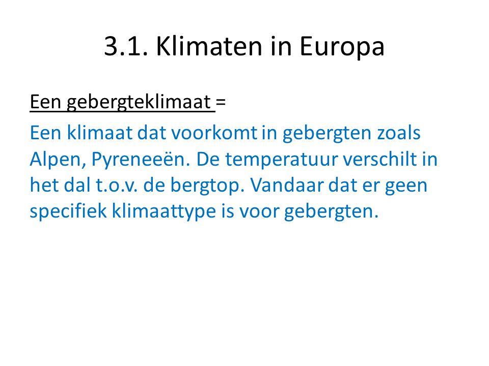 3.1. Klimaten in Europa Een gebergteklimaat = Een klimaat dat voorkomt in gebergten zoals Alpen, Pyreneeën. De temperatuur verschilt in het dal t.o.v.