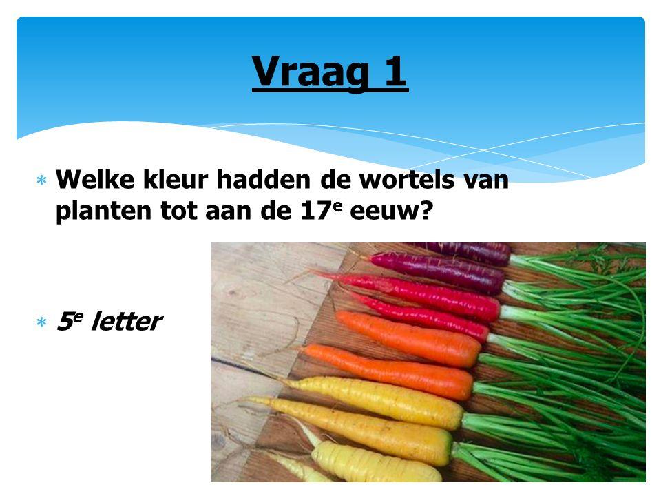 Vraag 1  Welke kleur hadden de wortels van planten tot aan de 17 e eeuw?  5 e letter