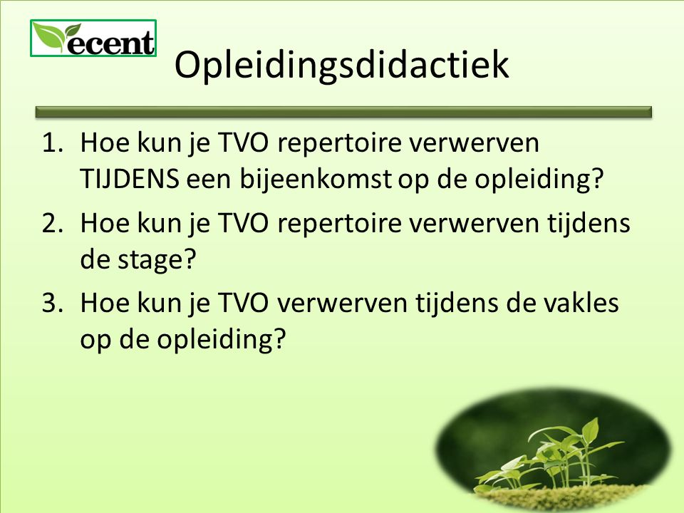 Opleidingsdidactiek 1.Hoe kun je TVO repertoire verwerven TIJDENS een bijeenkomst op de opleiding? 2.Hoe kun je TVO repertoire verwerven tijdens de st