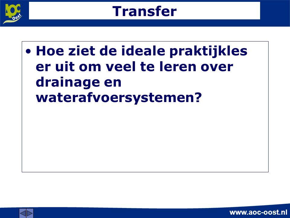 www.aoc-oost.nl Transfer Hoe ziet de ideale praktijkles er uit om veel te leren over drainage en waterafvoersystemen