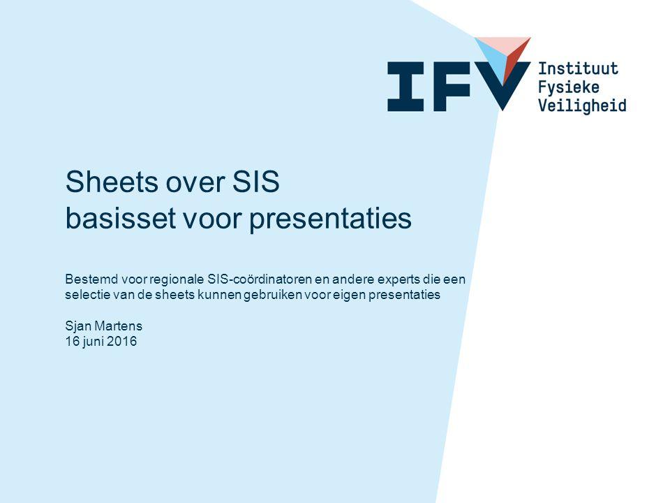 Sheets over SIS basisset voor presentaties Bestemd voor regionale SIS-coördinatoren en andere experts die een selectie van de sheets kunnen gebruiken voor eigen presentaties Sjan Martens 16 juni 2016
