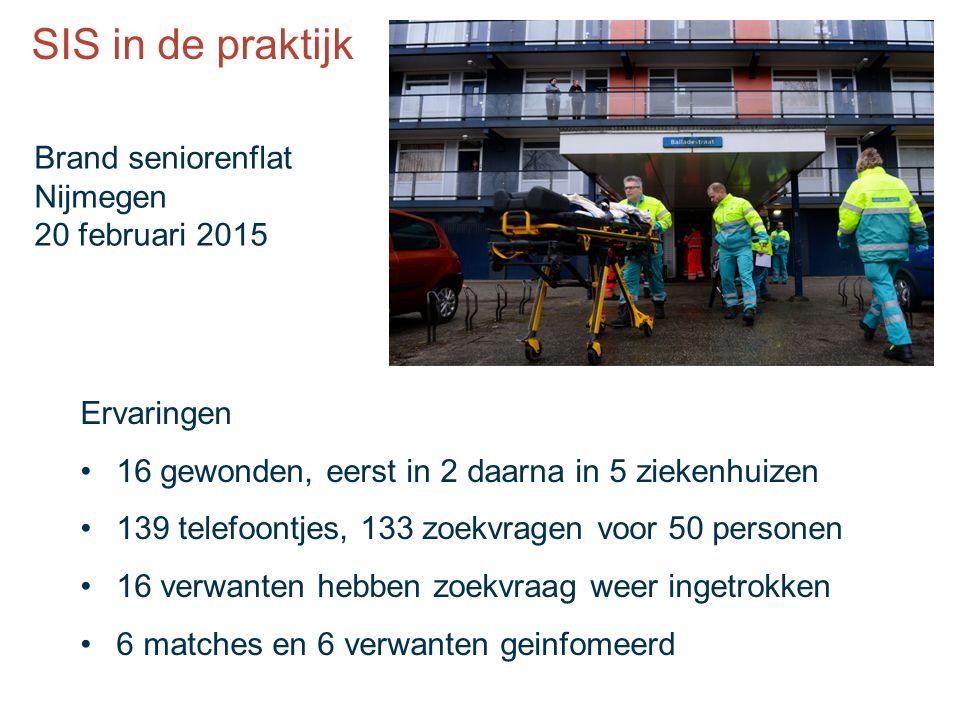 Ervaringen 16 gewonden, eerst in 2 daarna in 5 ziekenhuizen 139 telefoontjes, 133 zoekvragen voor 50 personen 16 verwanten hebben zoekvraag weer ingetrokken 6 matches en 6 verwanten geinfomeerd Brand seniorenflat Nijmegen 20 februari 2015 SIS in de praktijk