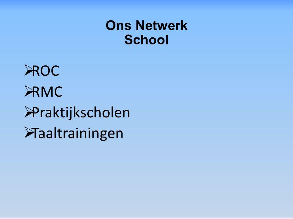 Ons Netwerk School  ROC  RMC  Praktijkscholen  Taaltrainingen