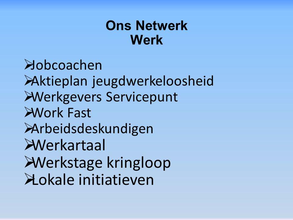 Ons Netwerk Werk  Jobcoachen  Aktieplan jeugdwerkeloosheid  Werkgevers Servicepunt  Work Fast  Arbeidsdeskundigen  Werkartaal  Werkstage kringloop  Lokale initiatieven