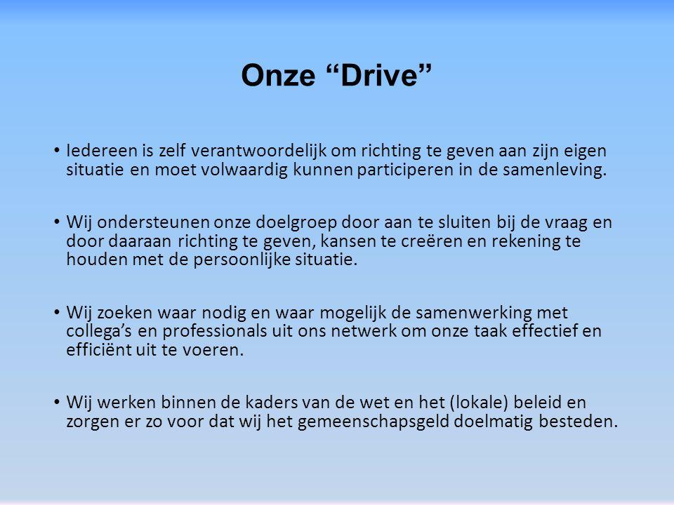 """Onze """"Drive"""" Iedereen is zelf verantwoordelijk om richting te geven aan zijn eigen situatie en moet volwaardig kunnen participeren in de samenleving."""