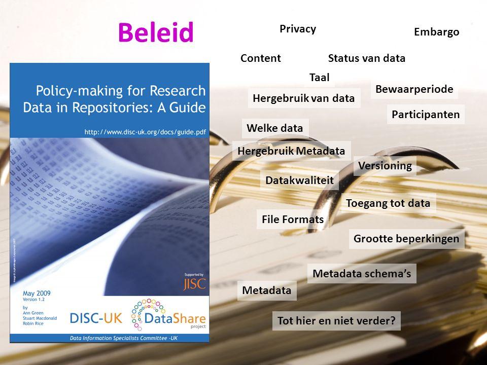 Content Taal Welke data Status van data Versioning File Formats Grootte beperkingen Metadata Metadata schema's Hergebruik Metadata Participanten Embargo Privacy Datakwaliteit Toegang tot data Hergebruik van data Bewaarperiode Tot hier en niet verder.