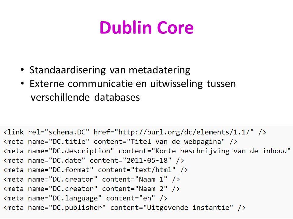 Dublin Core Standaardisering van metadatering Externe communicatie en uitwisseling tussen verschillende databases