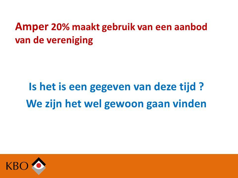 Amper 20% maakt gebruik van een aanbod van de vereniging Is het is een gegeven van deze tijd .