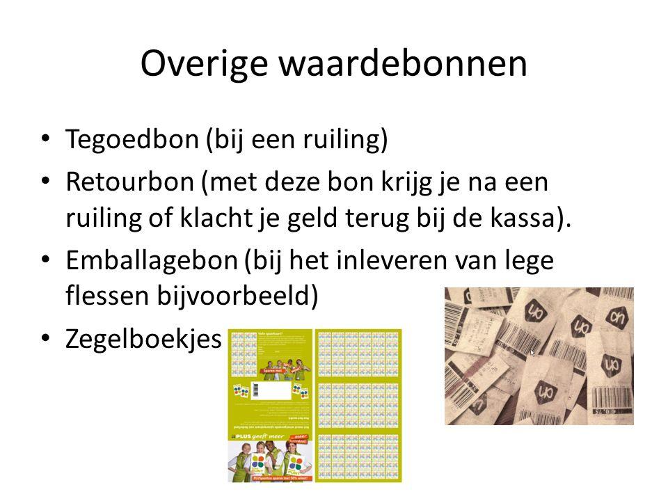 Overige waardebonnen Tegoedbon (bij een ruiling) Retourbon (met deze bon krijg je na een ruiling of klacht je geld terug bij de kassa). Emballagebon (