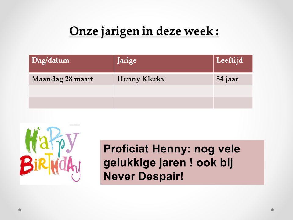 Onze jarigen in deze week : Dag/datumJarigeLeeftijd Maandag 28 maartHenny Klerkx54 jaar Proficiat Henny: nog vele gelukkige jaren .