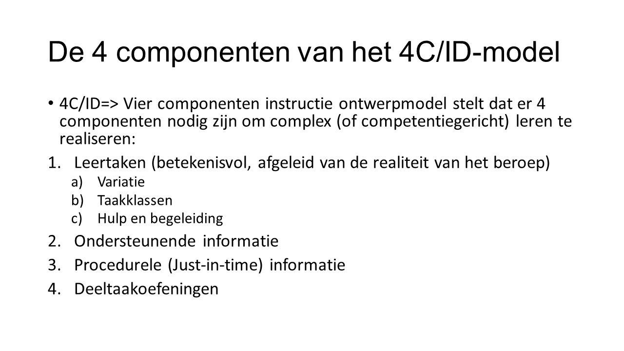De 4 componenten van het 4C/ID-model 4C/ID=> Vier componenten instructie ontwerpmodel stelt dat er 4 componenten nodig zijn om complex (of competentiegericht) leren te realiseren: 1.Leertaken (betekenisvol, afgeleid van de realiteit van het beroep) a)Variatie b)Taakklassen c)Hulp en begeleiding 2.Ondersteunende informatie 3.Procedurele (Just-in-time) informatie 4.Deeltaakoefeningen