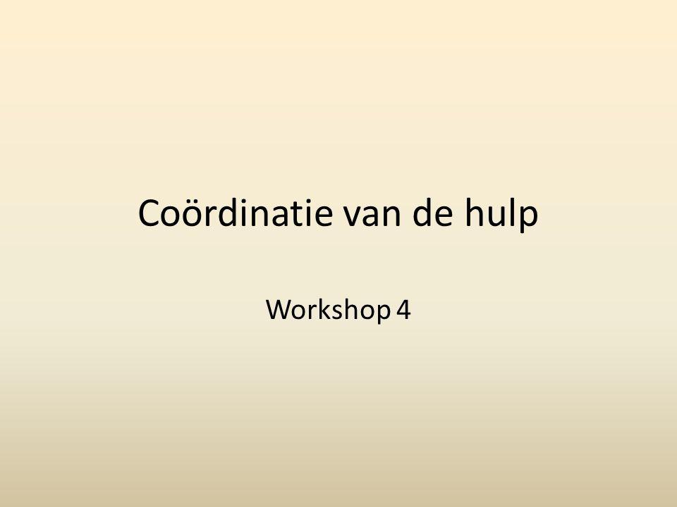 Coördinatie van de hulp Workshop 4