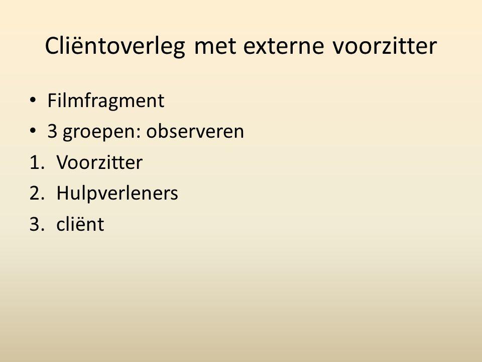 Cliëntoverleg met externe voorzitter Filmfragment 3 groepen: observeren 1.Voorzitter 2.Hulpverleners 3.cliënt