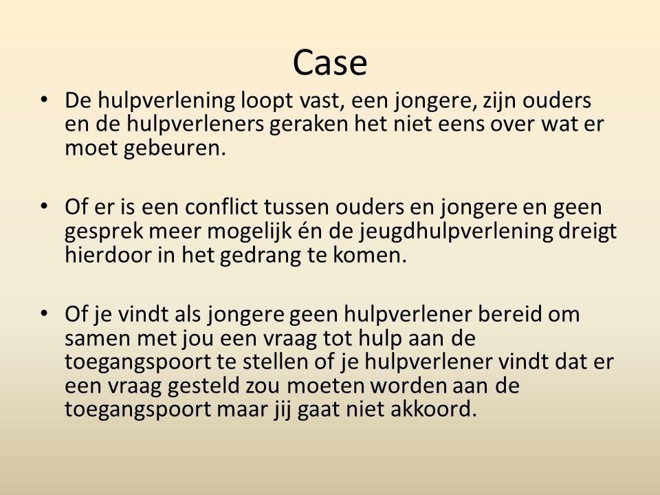 Case De hulpverlening loopt vast, een jongere, zijn ouders en de hulpverleners geraken het niet eens over wat er moet gebeuren.