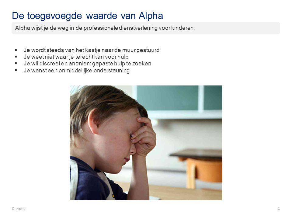 De toegevoegde waarde van Alpha © Alpha3  Je wordt steeds van het kastje naar de muur gestuurd  Je weet niet waar je terecht kan voor hulp  Je wil