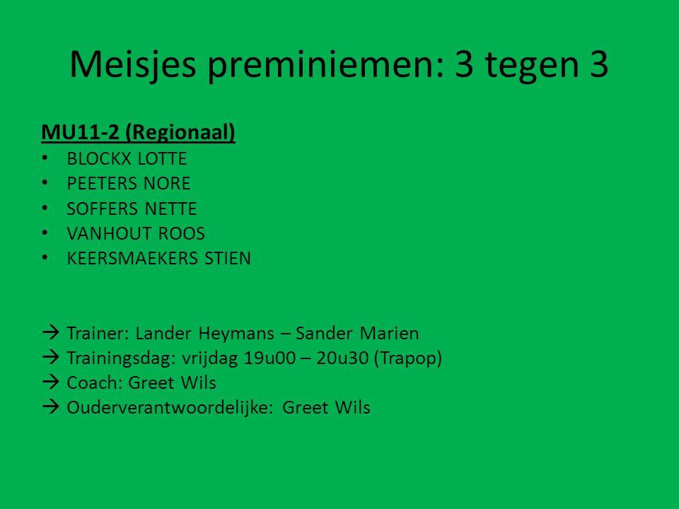 Meisjes preminiemen: 3 tegen 3 MU11-2 (Regionaal) BLOCKX LOTTE PEETERS NORE SOFFERS NETTE VANHOUT ROOS KEERSMAEKERS STIEN  Trainer: Lander Heymans –