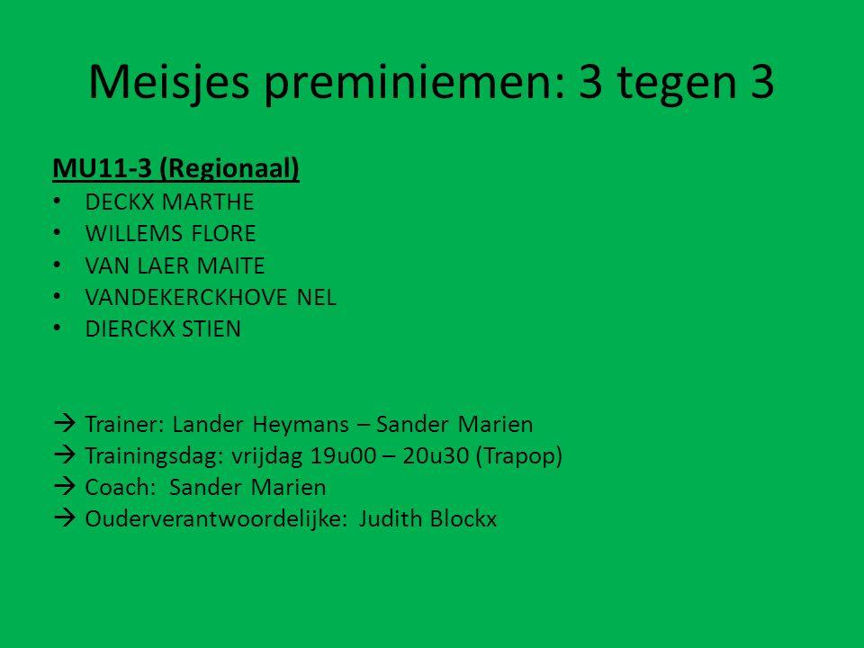 Meisjes preminiemen: 3 tegen 3 MU11-3 (Regionaal) DECKX MARTHE WILLEMS FLORE VAN LAER MAITE VANDEKERCKHOVE NEL DIERCKX STIEN  Trainer: Lander Heymans