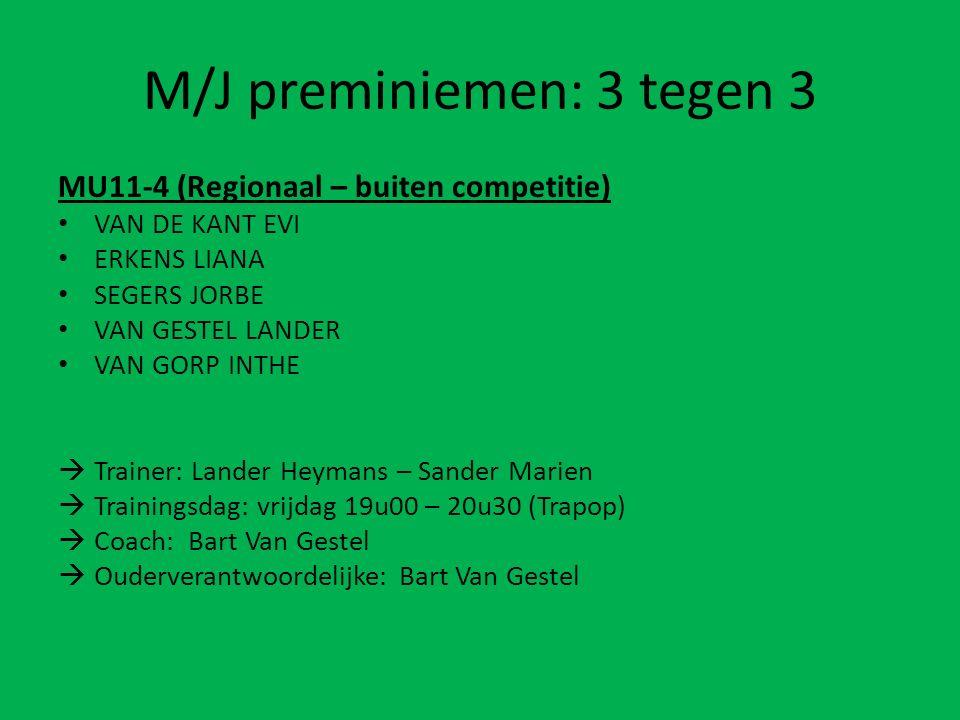 M/J preminiemen: 3 tegen 3 MU11-4 (Regionaal – buiten competitie) VAN DE KANT EVI ERKENS LIANA SEGERS JORBE VAN GESTEL LANDER VAN GORP INTHE  Trainer
