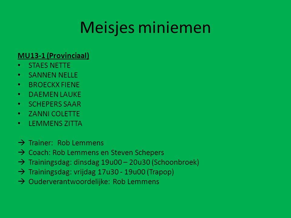 Meisjesminiemen MU13-1 (Provinciaal) STAES NETTE SANNEN NELLE BROECKX FIENE DAEMEN LAUKE SCHEPERS SAAR ZANNI COLETTE LEMMENS ZITTA  Trainer: Rob Lemmens  Coach: Rob Lemmens en Steven Schepers  Trainingsdag: dinsdag 19u00 – 20u30 (Schoonbroek)  Trainingsdag: vrijdag 17u30 - 19u00 (Trapop)  Ouderverantwoordelijke: Rob Lemmens