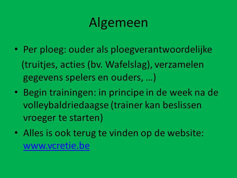 Algemeen Per ploeg: ouder als ploegverantwoordelijke (truitjes, acties (bv.