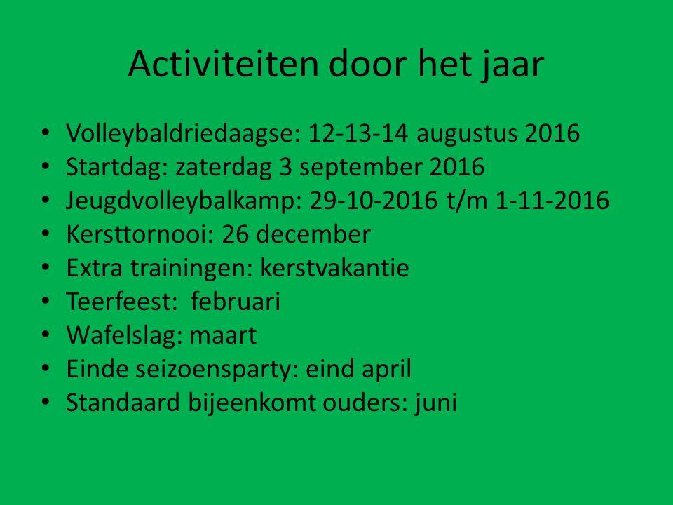 Activiteiten door het jaar Volleybaldriedaagse: 12-13-14 augustus 2016 Startdag: zaterdag 3 september 2016 Jeugdvolleybalkamp: 29-10-2016 t/m 1-11-201