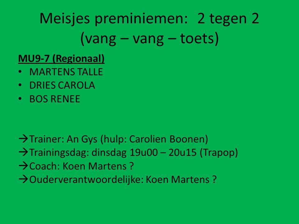 Meisjes preminiemen: 2 tegen 2 (vang – vang – toets) MU9-7 (Regionaal) MARTENS TALLE DRIES CAROLA BOS RENEE  Trainer: An Gys (hulp: Carolien Boonen)  Trainingsdag: dinsdag 19u00 – 20u15 (Trapop)  Coach: Koen Martens .