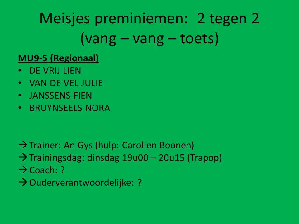 Meisjes preminiemen: 2 tegen 2 (vang – vang – toets) MU9-5 (Regionaal) DE VRIJ LIEN VAN DE VEL JULIE JANSSENS FIEN BRUYNSEELS NORA  Trainer: An Gys (