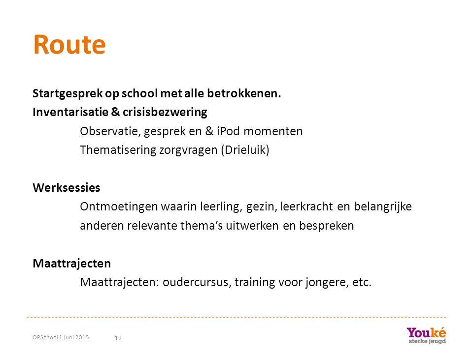12 Route Startgesprek op school met alle betrokkenen. Inventarisatie & crisisbezwering Observatie, gesprek en & iPod momenten Thematisering zorgvragen