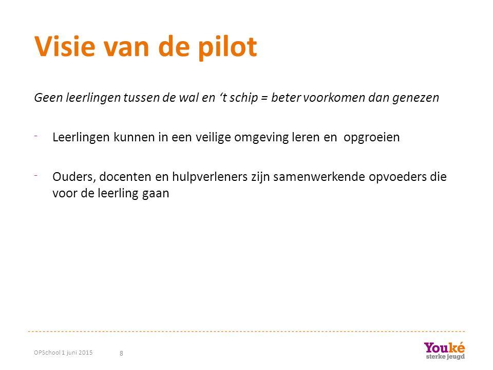 8 Visie van de pilot Geen leerlingen tussen de wal en 't schip = beter voorkomen dan genezen ⁻ Leerlingen kunnen in een veilige omgeving leren en opgr