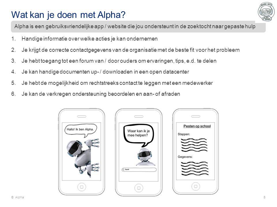 Wat kan je doen met Alpha? 1.Handige informatie over welke acties je kan ondernemen 2.Je krijgt de correcte contactgegevens van de organisatie met de