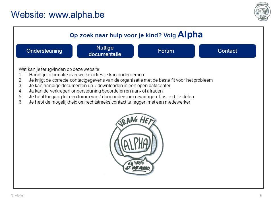 Website: www.alpha.be © Alpha9 Ondersteuning Nuttige documentatie ForumContact Op zoek naar hulp voor je kind? Volg Alpha Wat kan je terugvinden op de