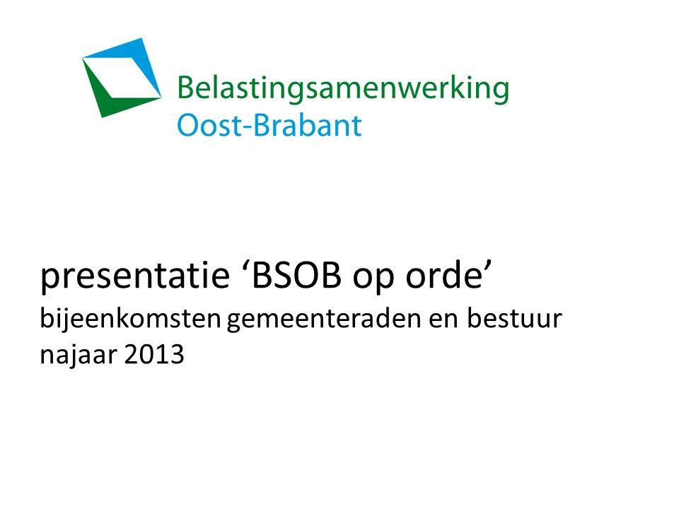 presentatie 'BSOB op orde' bijeenkomsten gemeenteraden en bestuur najaar 2013