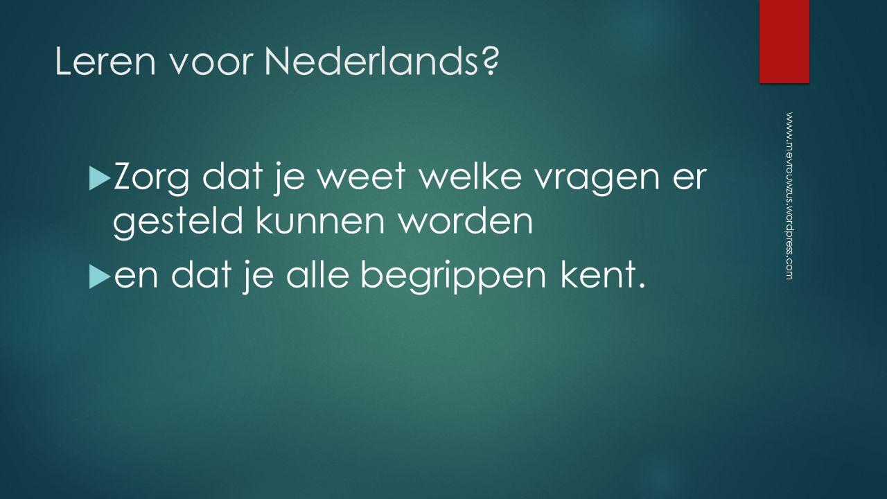 Leren voor Nederlands.