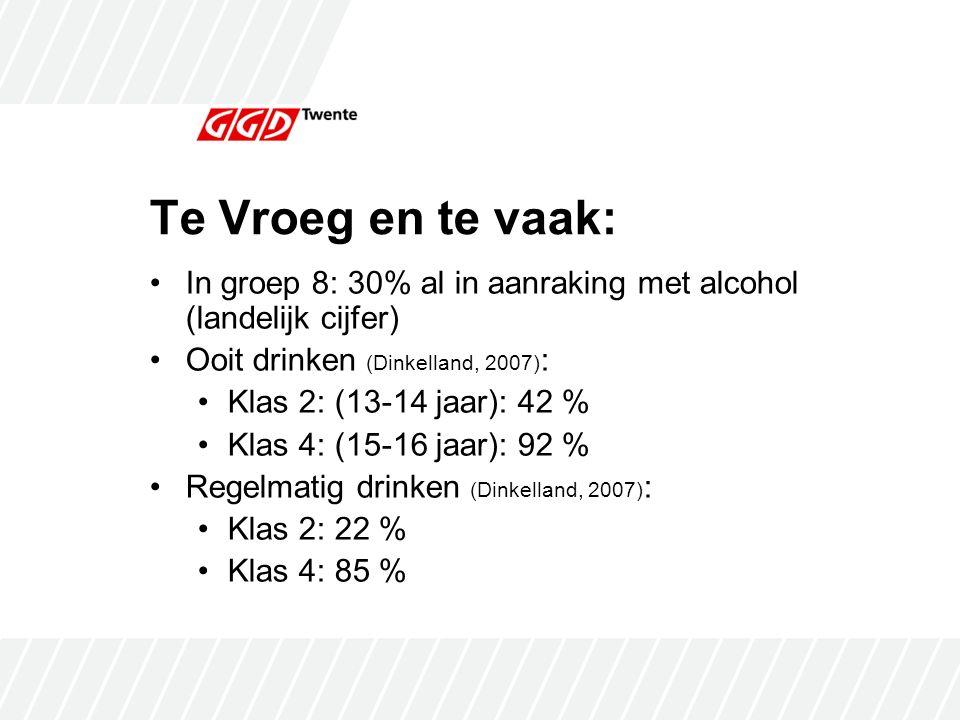 Te Vroeg en te vaak: In groep 8: 30% al in aanraking met alcohol (landelijk cijfer) Ooit drinken (Dinkelland, 2007) : Klas 2: (13-14 jaar): 42 % Klas 4: (15-16 jaar): 92 % Regelmatig drinken (Dinkelland, 2007) : Klas 2: 22 % Klas 4: 85 %