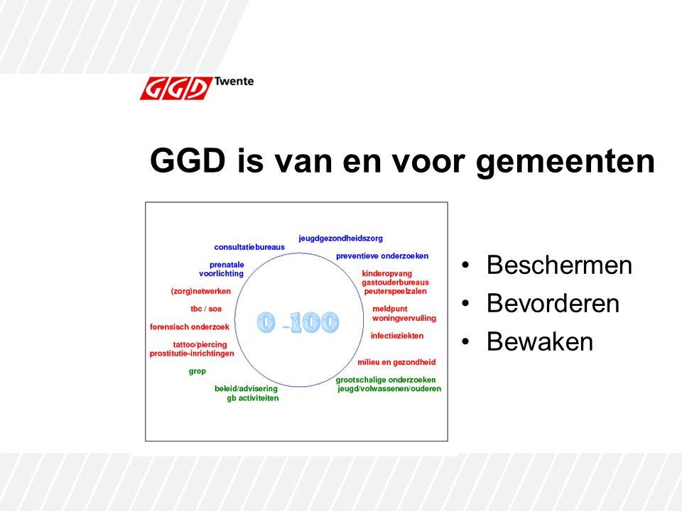 GGD is van en voor gemeenten Beschermen Bevorderen Bewaken
