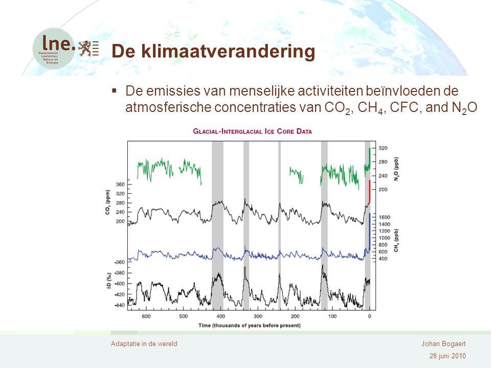 Adaptatie in de wereldJohan Bogaert 28 juni 2010 De klimaatverandering  De emissies van menselijke activiteiten beïnvloeden de atmosferische concentraties van CO 2, CH 4, CFC, and N 2 O