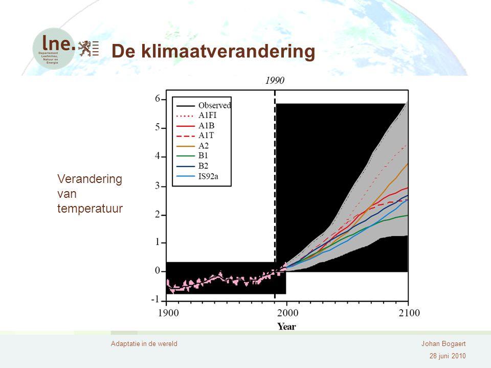 Adaptatie in de wereldJohan Bogaert 28 juni 2010 De klimaatverandering Verandering van temperatuur