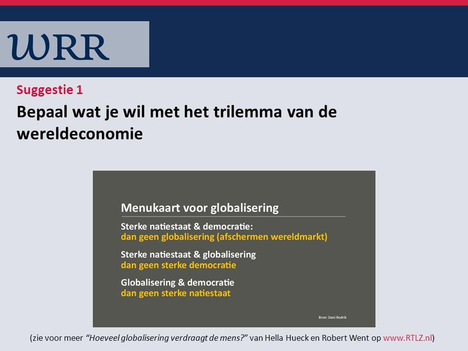 Bepaal wat je wil met het trilemma van de wereldeconomie Suggestie 1 (zie voor meer Hoeveel globalisering verdraagt de mens van Hella Hueck en Robert Went op www.RTLZ.nl)