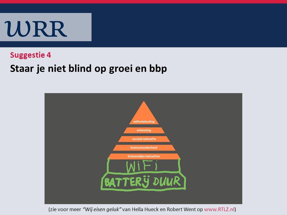 Staar je niet blind op groei en bbp Suggestie 4 (zie voor meer Wij eisen geluk van Hella Hueck en Robert Went op www.RTLZ.nl)