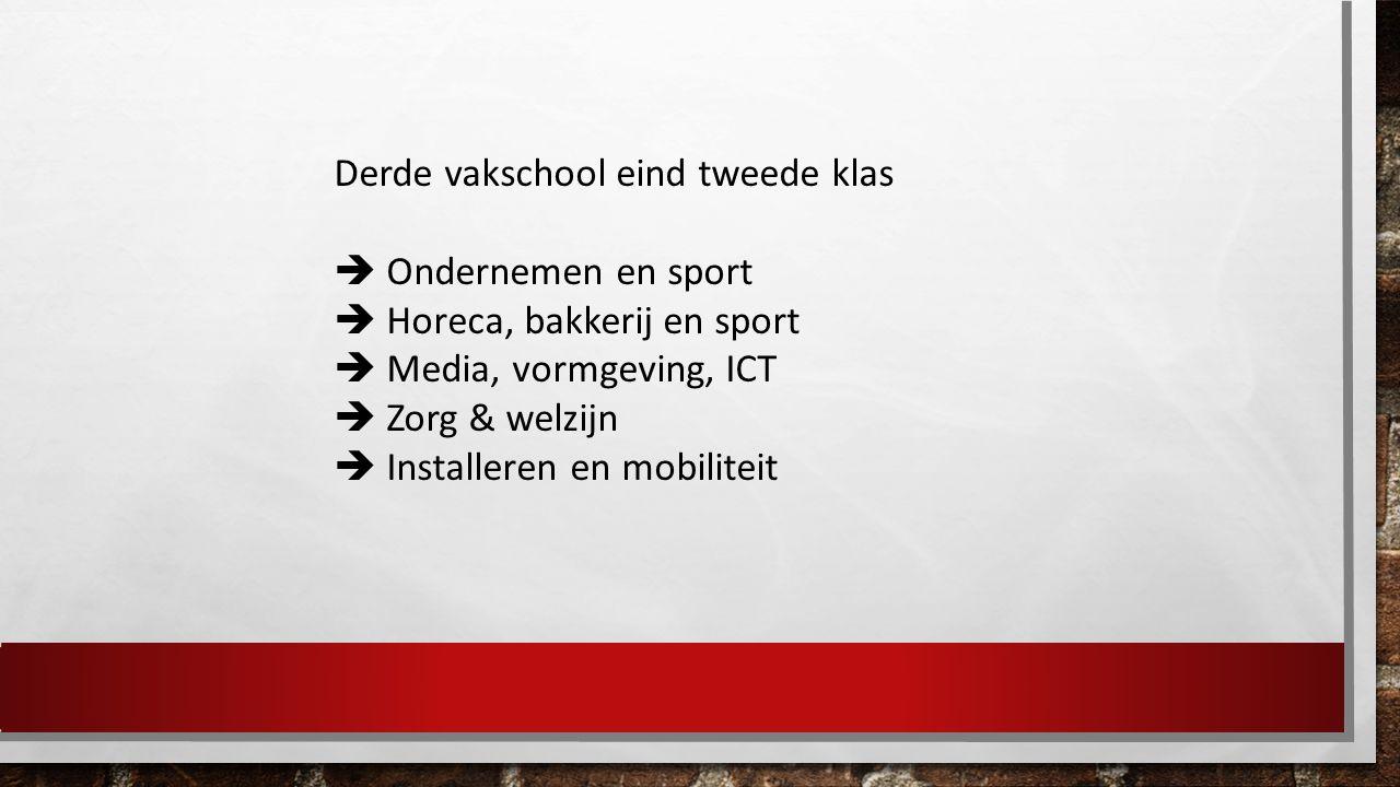 Derde vakschool eind tweede klas  Ondernemen en sport  Horeca, bakkerij en sport  Media, vormgeving, ICT  Zorg & welzijn  Installeren en mobiliteit
